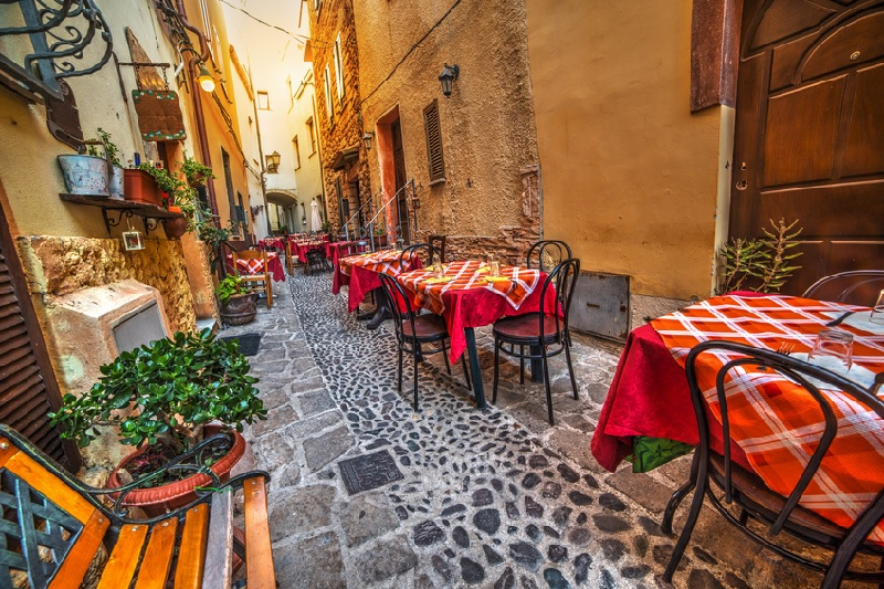 Traditional trattoria in the streets of Sardinia
