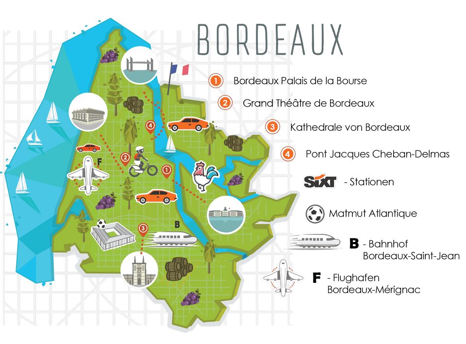 Bordeaux City Map - Euros 2016