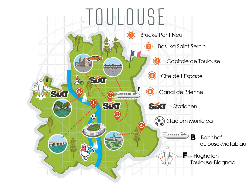 Toulouse City Map - Euros 2016